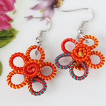 Colorful Line Hand Knitted Double Sided Flower Delicate And Lovely Earring