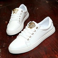 Kalete Versace Trending Women Men Casual Low Help Flat Running Sports Shoes Sneakers White