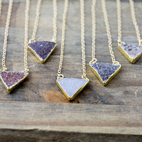 24K Gold Edged Druzy Necklace / Choose a Pendant / Triangle Drusy Gemstone Pendant / Druzy Jewelry
