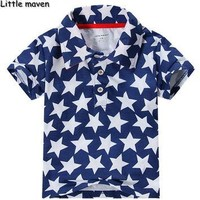 Little maven 2017 new summer baby boys clothes fashion pentagram polo shirt brand Cott