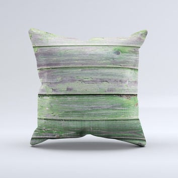 Wooden Planks with Chipped Green Paint ink-Fuzed Decorative Throw Pillow