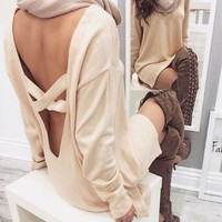Light Khaki Backless and Cross Design Knit Dress