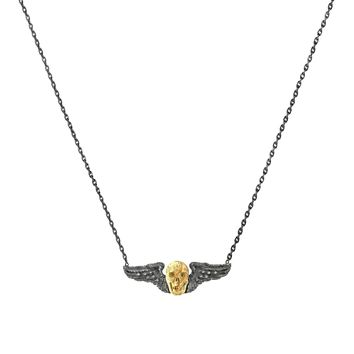 0.91tcw Diamonds in 925 Sterling Silver Winged Jasper Skull Pendant Necklace