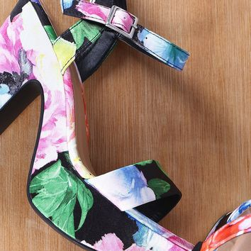 Bamboo Floral Ankle Strap Chunky Platform Heel