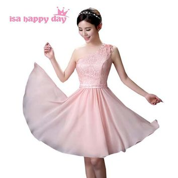 woman's short korean prom pinks flower dress elegant one shoulder sweetheart dresses for teens girl 2018 under $50 H3604