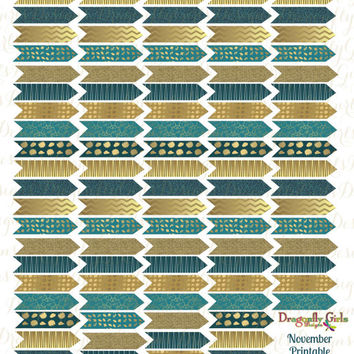 November Teal and Gold Printable Planner 110 Arrows Stickers PDF and jpeg Erin Condren Life Planners, Kikkik, Filofax