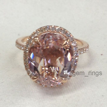 Oval Morganite Engagement Ring Pave Diamond Wedding 14K Rose Gold 10x12mm