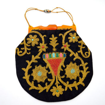 Stunning Vintage Black Fabric Handbag with Metallic Gold Couching, Cloisonne Bead, Amber Celluloid Frame, c 1930s