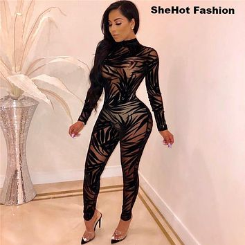Women Sexy Bamboo Leaf Sheer Mesh Long Sleeve Jumpsuit