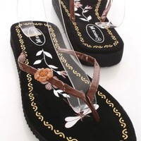 Brown Patent Faux Leather Floral V Strap Thong Post Sandals
