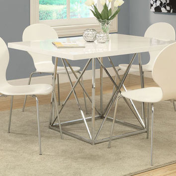 Bentwood / Chrome Dining Chairs White (Set Of 4)