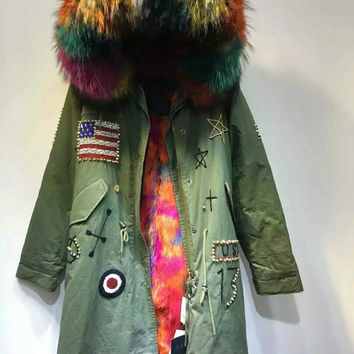 Top quality USA Beading design raccoon fur collar hood parka with faux fur lined, multi fur inside jacket Mrs furs parka