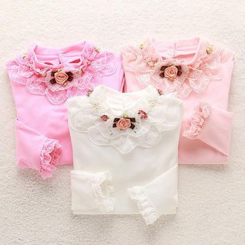 Autumn Winter Cute Girls T Shirt Velvet Thick Warm Turtleneck Cotton Tops Tees Bottoming Lace Baby Shirt Children Clothing 2-13Y