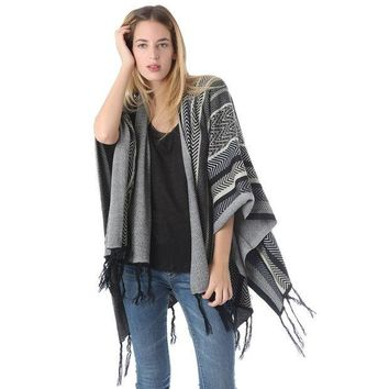 DCCK8BW TRIBAL TUNIC PONCHO CAPE