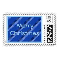 Merry Christmas Blue Tartan Custom Postage Stamp