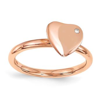 Sterling Silver Stackable Expressions Rose Gold-plated Heart Diamond Ring