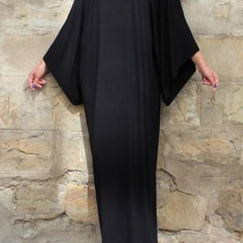 Black Draped Round Neck Dolman Sleeve Muslim Casual Maxi Dress