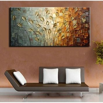 Hand painted oil painting on canvas abstract Gold Flower oil painting modern popular home decoration