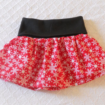 Christmas Fold Over Waist Baby Skirt, Infant Skirt, Christmas Newborn Skirt, Red Snowflake Skirt Baby, Twirl Skirt Baby, Flounce Skirt Baby