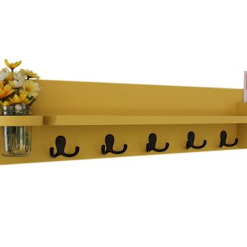Coat Rack Shelf with Mail Holder - Coat Hooks