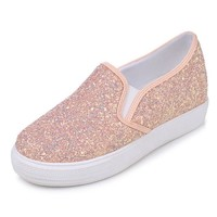 Glitter Leather Causal Glitz Womens Flats