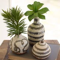 Glazed Ceramic Bud Vases with Natural Bottom (Set of 3)