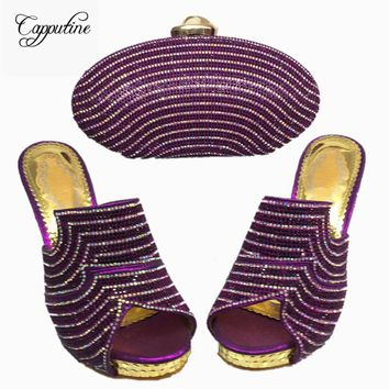 """Capputine"" Women's Designer Low Heels And Handbag Set"