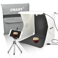 Emart 40 LED Foldable & Portable Photo Lighting Studio Shooting Tent Box Kit include White/ Black Background USB cable adjustable Tripod Stand Holder for iPhone