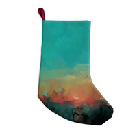 "Oriana Cordero ""Martinique"" Orange Teal Christmas Stocking"