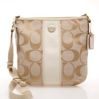 Coach Signature Stripe Duffle Bag F21905 Light Khaki/White