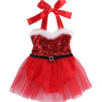 Fashion Christmas Newborn Baby Girl Rompers Jumpsuit Sequins Tulle Lace Dress Christmas Outfits Costume 0-3T