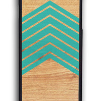 Wood With Mint Chevron for Iphone 6 Hard Cover Plastic