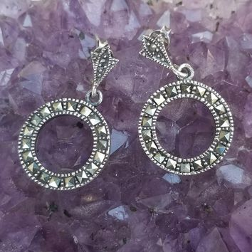 Art Deco Marcasite sterling silver drop circle pierced vintage earrings