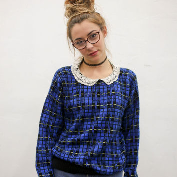 80's blue black plaid lace collar sweater, vintage 1980s goth punk wool, 1990s ironic vtg tumblr soft grunge vaporwave, urban outfitters