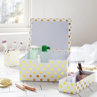 Portable Paper Makeup Station, Gold Dot