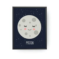 Moon Poster, Kids Space Art, School Room Decor, Nursery Art, Solar System, Educational Art, Planet Art, Typography Poster, Kids Decoration