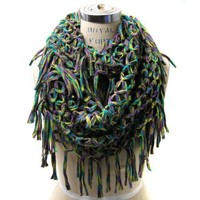 Scarfand's Mixed Color Inifinity Fishinet Scarf (Green)