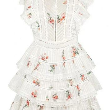 So Done With You White Red Floral Pattern Sleeveless Ruffle V Neck Cut Out Back Tiered A Line Flare Casual Mini Dress