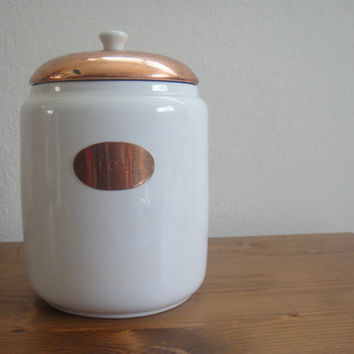 Vintage Flour Container - Ceramic - Copper Top - White