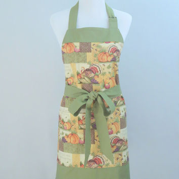 Womens Thanksgiving Apron in a Green, Orange & Cream Thanksgiving Print, Large Pockets, Lined, 100% Cotton, Matching Accessories