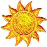 "[Single Count] Custom and Unique (2"" Inches) Round Sunny Day Sun With Sunrays Iron On Embroidered Applique Patch {Yellow and Orange Colors}"