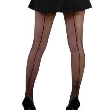 Women's Love/Hate Signature Seamed Tights - Black