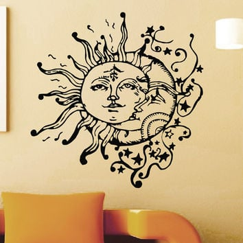 Vinyl Wall Sticker Decals Sun Crescent Ethnic Dual Symbol Moon Decal Bedroom Home Interior Decor Art Mural Z714
