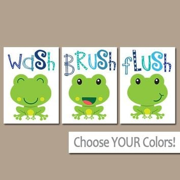 FROG Bathroom, Frog Wall Art Canvas or Prints BROTHER Bathroom Decor, Wash Brush Flush, Boy Bathroom Decor, Frog Theme, Set of 3 FROGS