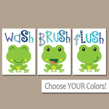 FROG Bathroom, Frog Wall Art, Canvas or Prints, BROTHER Bathroom Decor, Wash Brush Flush, Boy Bathroom Decor, Frog Theme, Set of 3 FROGS