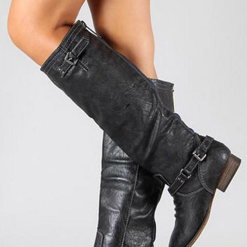 Double Buckle Boots - Black