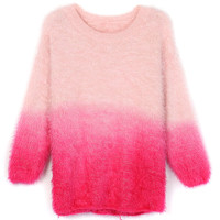 Pink Ombre Fluffy Mohair Sweater