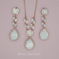 Wedding Jewelry Set Backdrop Necklace Wedding Opal Bridal Earrings Rose Gold Bridal Jewelry Swarovski White Opal Rhinestone Jewelry