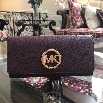 NWT, Michael Kors Fulton Flap Continental Pebbled Leather Plum Wallet $188