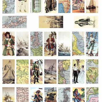 vintage world maps pirates pirate ships digital download collage sheet 1 x 2 inch rectangles